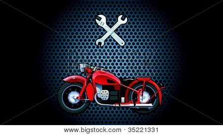 illustration of a red motorcycle. (Simple gradients only - no gradient mesh.) poster