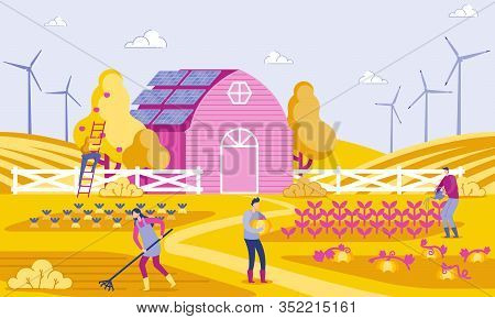 Vector Illustration Green Energy In Farm Flat. People Working On Farm, Background Building, Wind Tur