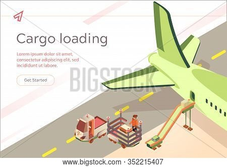 Vector Banner Cargo Loading Flight Preparation. Passenger Compartment Aircraft Is Filled With Passen