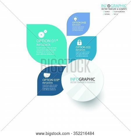 Vector Abstract Element Infographics 4 Step. Design For Business Finance Template Layout, Brochure,