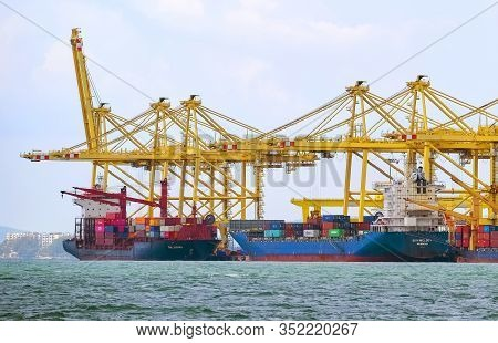 Ships Loading Containers By Cranes At North Butterworth Container Terminal
