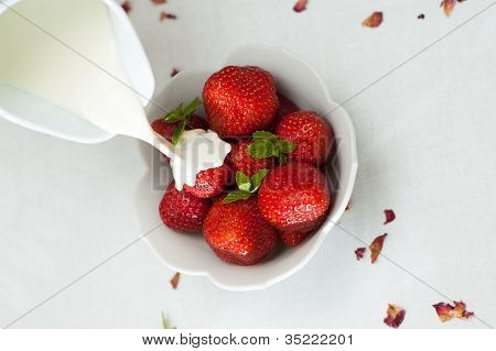 Cream Poured Over Fresh Strawberrys