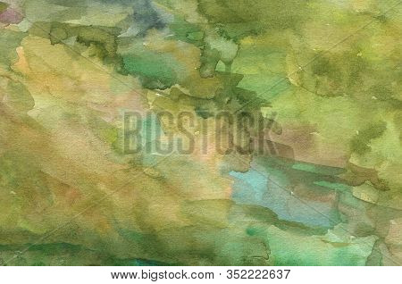 Watercolor Abstract Texture On Paper, Color Green And Ocher