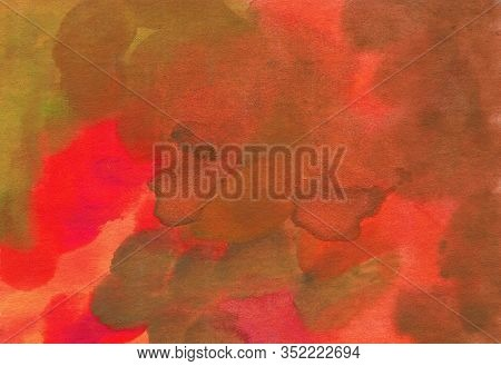 Watercolor Abstract Texture On Paper, Color Red And Ocher