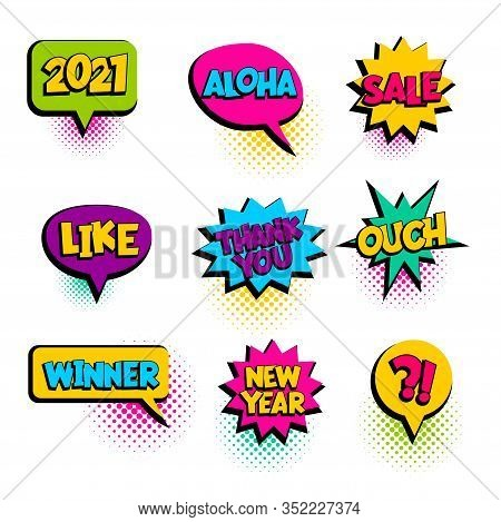 2021, Aloha, Sale Winner Speech Bubble Comic Text
