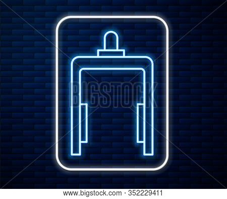 Glowing Neon Line Metal Detector In Airport Icon Isolated On Brick Wall Background. Airport Security