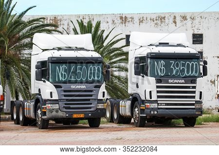 Tsumeb, Namibia - February 7, 2020: Second-hand Semi-trailer Truck Scania In The Town Street.