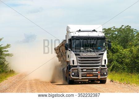 Rundu, Namibia - February 8, 2020: Semo-trailer Dump Truck Scania R At The Gravel Intercity Road.