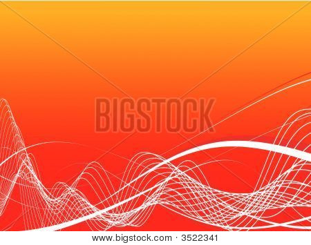 red abstract wave lines background. vector illustration poster