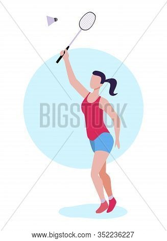 Flat Cartoon Woman Badminton Player Striking Shuttlecock. Female Athlete Character In Uniform Satisf