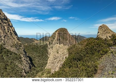 Panoramic View Of Rocks - Los Roques In La Gomera Island. A Volcanic Plug, Also Called A Volcanic Ne
