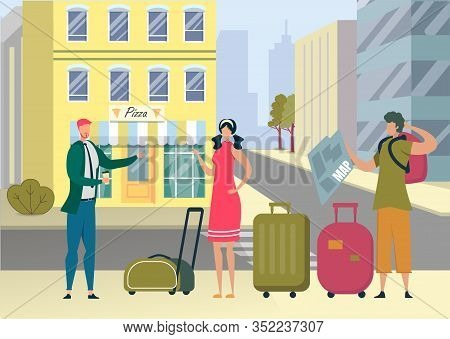 Tourists With Luggage Got Lost In Foreign City Watching Map And Asking Way At Man Native Dweller On