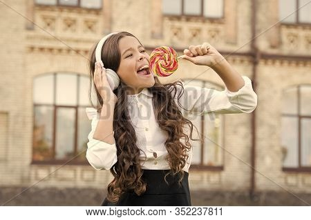 Sweet Remix. Happy Kid Singing Sweet Candy Mic. Happy Childhood. Kid Child Headphones Holding Lollip