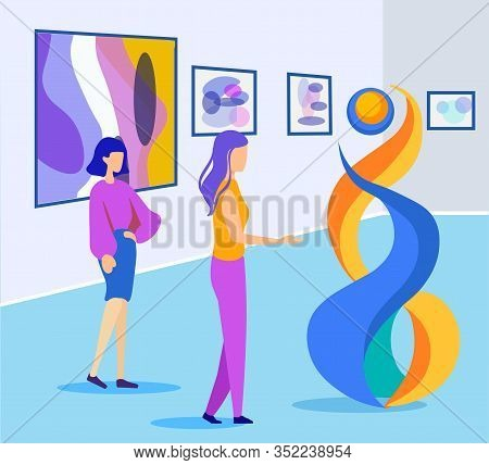 Two Women Discuss Futuristic Structural Exposition In Art Gallery. Female Guide Or Author In Casual
