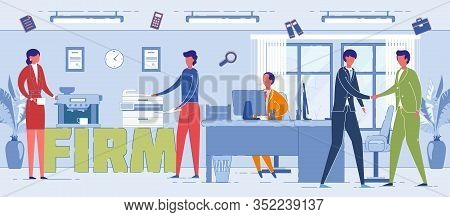 Firm Workers Daily Routine Word Concept Banner. Top Manager Sitting At Desk Cartoon Character. Busin
