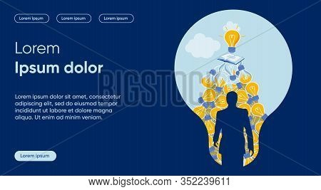 New Solution Flat Landing Page Vector Template. Innovative Idea Birth, Experience And Study Result M