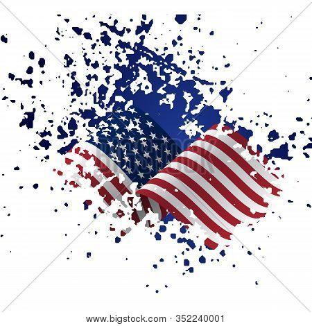 Grunge American Flag. Flag Of The Usa, The United States Of America In Grunge Style. Usa, American F