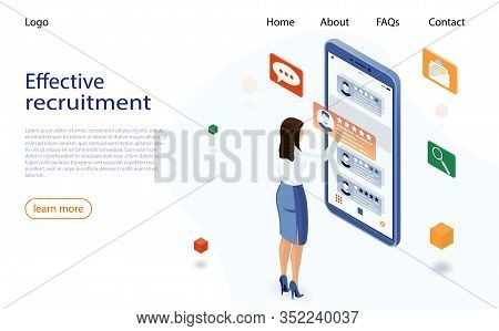 Isometric Hiring And Recruitment Concept. Job Hr Resource, Business Woman Employer Character. Hiring