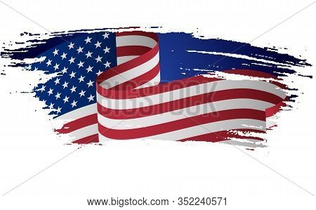 Grunge American Flag. Flag Of The Usa, The United States Of America In Grunge Style. Usa, American F