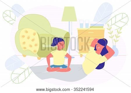 Woman Shakes Press At Home And Next To Her Kid. Girl Sits On Parents Legs While She Does Exercises T