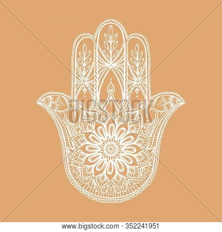 Ornate Hand Drawn Hamsa. Popular Arabic And Jewish Amulet. Vector Illustration. Outline, V Isolated