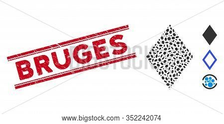 Rubber Red Stamp Watermark With Bruges Caption Inside Double Parallel Lines, And Mosaic Filled Rhomb