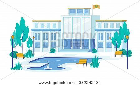 Classic University Or Academy, Institute Building Facade And Courtyard With Fountain Background. Pro