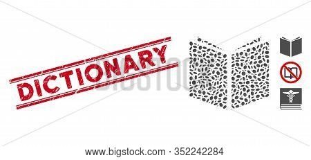 Rubber Red Stamp Seal With Dictionary Phrase Inside Double Parallel Lines, And Mosaic Book Icon. Mos