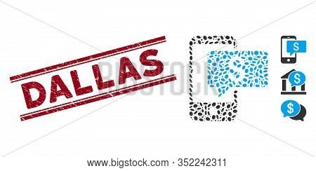 Grunge Red Stamp Watermark With Dallas Text Inside Double Parallel Lines, And Mosaic Money Phone Sms