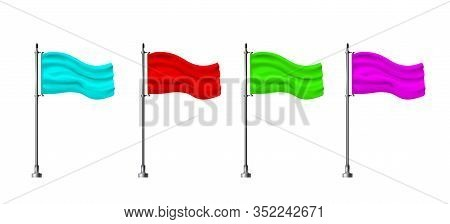 Four Multicolored Horizontal Banner Flags, Standing In A Row. Realistic Mockup On Flagpole. Banner F