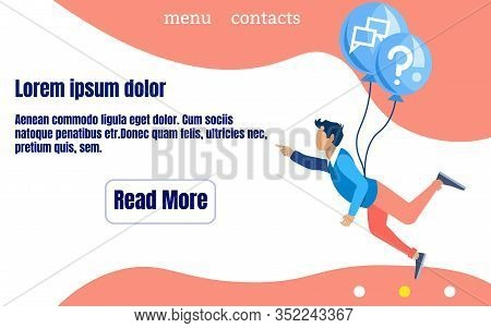 Informative Poster Call Center Answers Cartoon. Banner Operator Shows Punctuality. Guy In Casual Clo