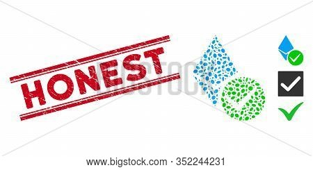 Grunge Red Stamp Watermark With Honest Phrase Between Double Parallel Lines, And Mosaic Valid Ethere