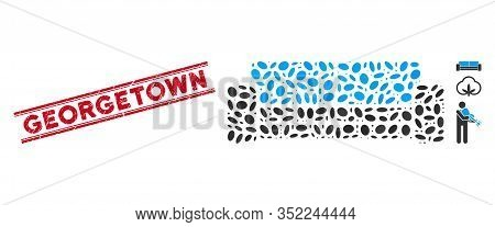 Rubber Red Stamp Seal With Georgetown Caption Between Double Parallel Lines, And Mosaic Sofa Icon. M
