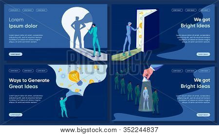 Idea Making Flat Landing Page Vector Templates. Enlightenment And Insight, New Look, Fresh View Meta