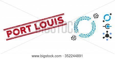Rubber Red Stamp Seal With Port Louis Caption Inside Double Parallel Lines, And Mosaic Node Link Ico