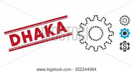 Distressed Red Stamp Seal With Dhaka Text Inside Double Parallel Lines, And Mosaic Outline Pinion Ic