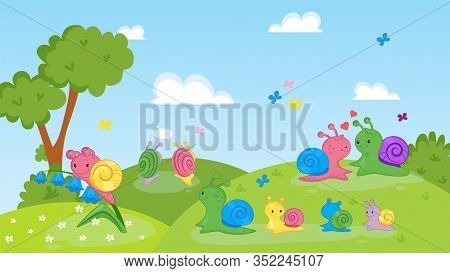 Happy Couple, Family Of Snails Animals On Nature Vector Illustration. Cartoon Colorful Cute Smiling