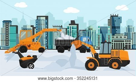 Different Machines In Winter Removing Snow Vector Illustration. Big And Small Wheeled Snow Blowers,