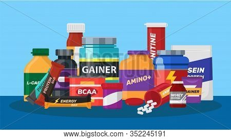 Sport Nutrition Biologically Active Additives Supplements Vector Illustration. Jars With Sport Nutri