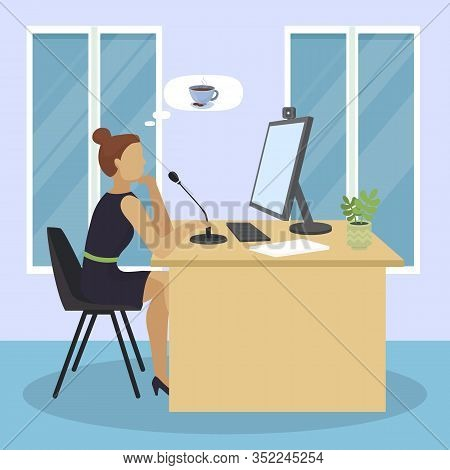 Video Blogger Online Dtreaming Thinking About Coffee With Cookies Vector Illustration. Media Blogger