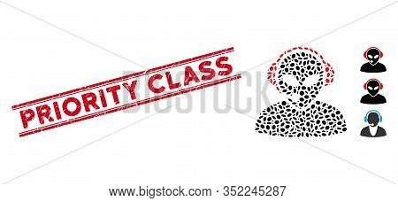Grunge Red Stamp Seal With Priority Class Caption Between Double Parallel Lines, And Mosaic Alien Ca