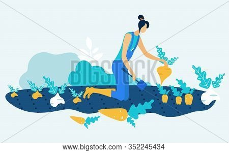 Woman In Blue Jumpsuit With Spade In Hand On Garden Bed. Grow And Harvest Vegetable. Vector Illustra