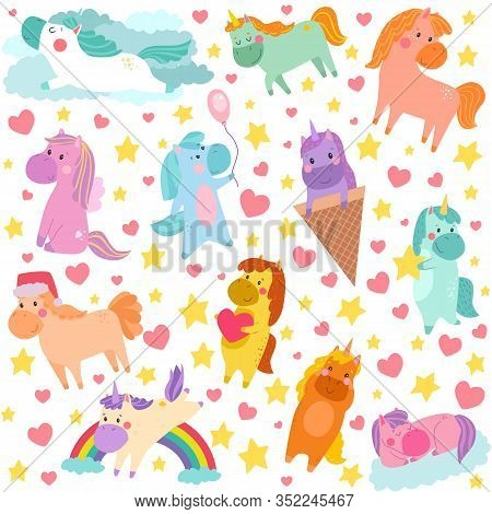 Cartoon Pony Unicorn Vector Illustration Kids Pattern. Cute Fairy Fantasy Animals Characters. Little