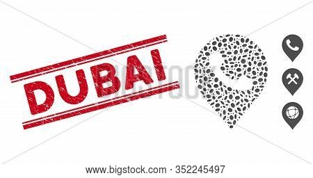 Rubber Red Stamp Seal With Dubai Text Inside Double Parallel Lines, And Mosaic Phone Receiver Marker