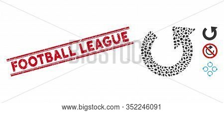 Corroded Red Stamp Seal With Football League Text Inside Double Parallel Lines, And Mosaic Rotate Cc