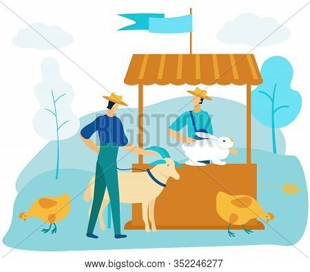 Man In Market Sells Animals. Rabbit On Counter. Man With Goat. Vector Illustration. People At Market
