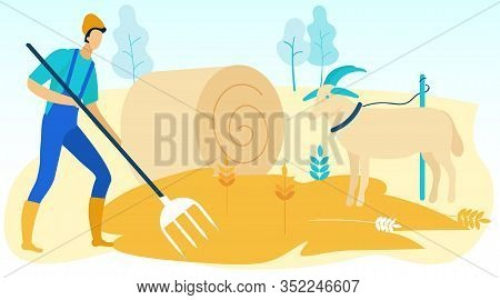 Man In Blue Jumpsuit Picks Up Hay On Field. Goat Grazes In Pasture. Vector Illustration. Farmer With