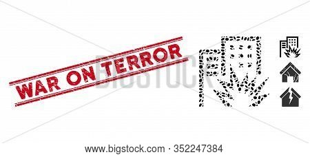 Corroded Red Stamp Seal With War On Terror Caption Between Double Parallel Lines, And Mosaic House T