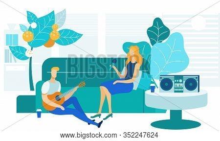 Home Karaoke, Entertainment Vector Illustration. Young Friends, Boyfriend And Girlfriend Cartoon Cha