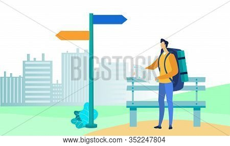 Tourist With Paper Map Flat Vector Illustration. Backpacker Standing Outside Cartoon Character. Youn